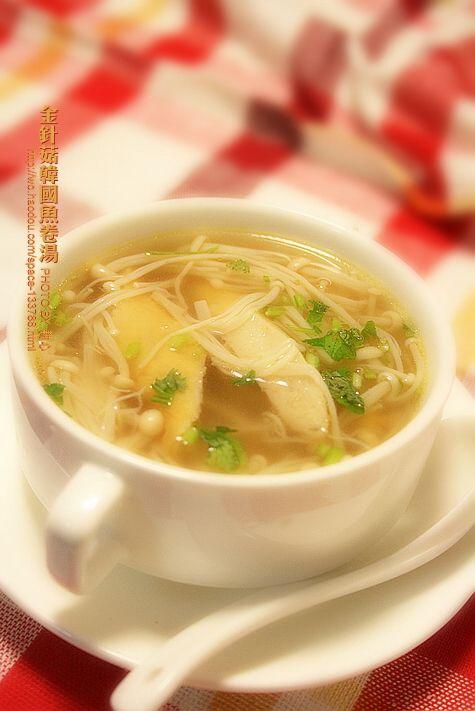 金针菇韩国鱼卷汤怎样炒