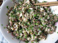 韭菜苔馄饨的家常做法