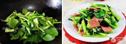 火腿炒白菜苔的家常做法