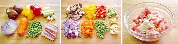 肉丁时蔬炒疙瘩的简单做法